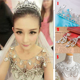 Wholesale Cheap Body Jewerly - Cheap Tiaras+Earrings+Shoulder Chain Wedding Bridal Princess Crystal Rhinestone Body Jewerly Beaded Wedding Accessory Necklace Jewelry Set