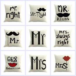 Wholesale Mustache Case Cover - Square Mr. and Mrs. Mustache Printed Pillow Covers Linen Throw Pillow Case Car Sofa Cushion Pillow cases Home Supplies 9 Designs YFA73