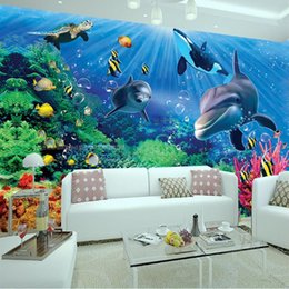 Wholesale Cute Dolphin Kids - 3D Wall Mural Underwater World Photo Wallpaper Interior Art Decoration Cute Dolphin Wallpaper Large wall Art Kid Bedroom TV background wall