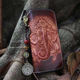 Wholesale God Elephant - Women Genuine Leather Card Holder Wallets Elephant God Bag Purses Men Clutch Vegetable Tanned Leather Long Wallet Pendant Gift Q0964