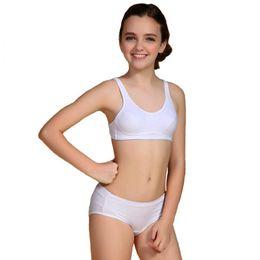 Wholesale Cotton Pants Bra - 2016 Puberty Girls Kids Padded Bras And Matching Pants Sets Kids Training Underwear Sets S1014 free shipping