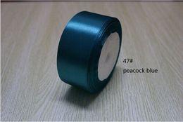 Wholesale Blue 38mm Ribbon - 100 yards lot 1-1 2''(38mm) peacpck blue single face satin ribbon polyester ribbon 4 roll(100yard)
