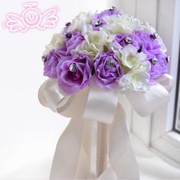 Wholesale Artificial Crystals For Decoration - 2015 Lilac Bridal Wedding Bouquet Wedding Decoration Romantic Artificial Bridesmaid Flower Crystal Pearl Silk Rose Bouquet for Wedding Bride