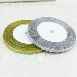 Wholesale Sale Cake Birthday - 15% off on sale 1 4'' (6mm) 25yards ROLL Double Face satin ribbon gold and silver ribbon Christmas packaging ribbon wedding decoration