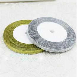 15% de descuento en la venta 1/4 '' (6 mm) 25 yardas / ROLL cinta de raso de doble cara cinta de oro y plata cinta de embalaje de Navidad decoración de la boda desde fabricantes