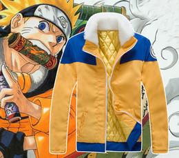 Wholesale Anime Jackets - NARUTO Shippuden Uzumaki Naruto Ninja Cosplay Jacket Coat Winter Thick Warm Fur Collar Costume Outfit cotton-padded clothes Size S-XXL