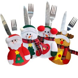 Wholesale Table Cutlery - 2017 Christmas Snowman Fork Knife bags Cutlery Bags Santa Claus Cute Table Ornament christmas Decorations for Home