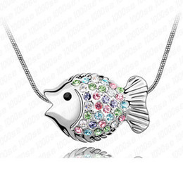 Wholesale Diamond Fish Jewelry - Factory wholesale Tropical fish - factory outlets Korean high-end fashion jewelry crystal pendant necklace jewelry in Europe and America Val