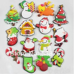 Wholesale Snowman Fridge Magnets - FREE shipping by FEDEX 100pcs lot Custom cartoon soft PVC fridge magnet for Christmas gifts-Santa Claus snowman Christmas tree 1013#13