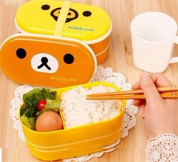 Wholesale Cartoon Food Container - 300sets lot cartoon bear preservation box bird pattern container lunch box Food Storage Container Lunchbox Eco-Friendly