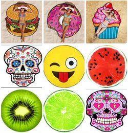 Wholesale Design Pizza - Bath Towels Round Beach Towel Beach Shawl Picnic 18 Designs Pizza Hamburger Skull Emoji Printed Tablecloth Shower Bath Towels Blanket Mat