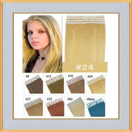 Wholesale Cheap 5a Brazilian Hair - Cheap Tape In Human Hair Extensions 16 18 20 22 24 inch 40pcs Per Lot #24 Color 5A Virgin Brazilian Remy Skin Weft