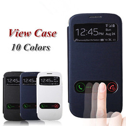 Wholesale Galaxy S3 View Cover - Top Quality View window case for Samsung Galaxy S3mini S3 SIII Mini i8190 leather cases back cover Battety Housing
