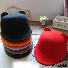 Wholesale Devil Bowler Hat - Wholesale-New Winter Fashion Women Devil Hat Cute Kitty Cat Ears Wool Derby Bowler Cap M-Shop Free Shipping