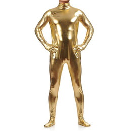 Wholesale One Piece Lycra Bodysuit - Wholesale-Men's Shiny Metallic One Piece Bodysuit Lycra Spandex Zentai Costume