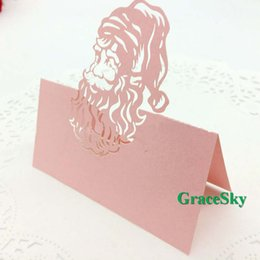 Wholesale Glossy Invitations - 50pcs lot Free Shipping Santa Claus Design Chrismas Invitation Laser Cut Christmas Paper Place Seat Name Card For Wedding Table Decoration