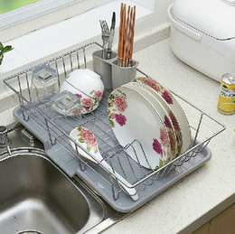 Wholesale Stainless Steel Drying Racks - Single-wire stainless steel kitchen dish rack shelving metal cutlery dishes dry place storage rack Drain