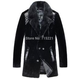 Wholesale Plus Size Mink Coats - Fall-100% original natural mink coat plus sizes cow leather black mens winter jacket fur