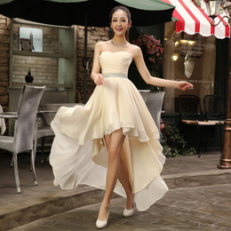 Wholesale Gold Hi Lo Short - High Low Sweetheart Beaded Bridesmaid Dress Plus Size 2017 Chiffon Party Dress Short Front Long Back