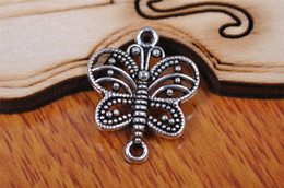 Wholesale Silver Plated Butterfly Charms Beads - 300 pieces 17mm butterfly Pendant Charms 7084 Beads Clasp Components Plated Silver DIY Jewelry Craft Necklace infinity Bracelets Earring