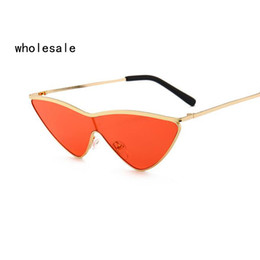 Wholesale White Glass Film - Small Triangle conjoined Sunglasses Cat Eye Sunglasses men Women New Fashion Color Ocean Film Sun Glasses OK185 11257
