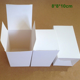Wholesale paper folding crafts - Retail 8*8*10cm DIY White Cardboard Paper Folding Box Gift Packaging Box for Jewelry Ornaments Perfume Cosmetic Bottle Weddy Candy Tea