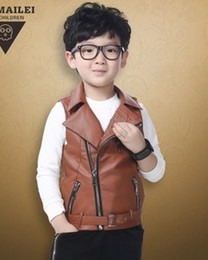 Wholesale Korean Brand Leather Jacket - 2015 New Children Boys Korean Style Autumn Turn-down Collar PU Leather Waistcoat Kids Fashion Waistcoat B3722