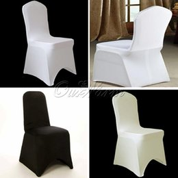Wholesale Spandex Stretch Chair - Hot sale,ivory Black White Spandex Stretch Chair Cover Lycra For Wedding Banquet Party Hotel Decorations -COVER