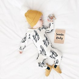 Wholesale Animal Jumpsuits - 2017 Ins animal Jumpsuit Newborn Baby boy clothing Sleepwear Long sleeve Cartoon Mother baby Bear Print Cotton Autumn Winter 0-12months