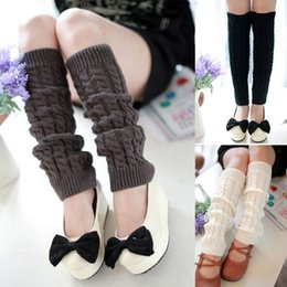 Wholesale Hosiery For Black Women - Wholesale-New 5Colors Winter Warm Knitted Knee High Crochet Leg Warmers For Women Fashion Ladies Boot Socks & Hosiery