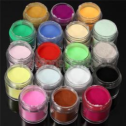 Wholesale Kits For Acrylic Nails - Wholesale 18pcs Color Acrylic Powder for Nail Art Tips UV Glitter Polish Kit Decorate Tools Set Random Color