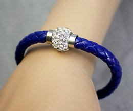 Wholesale Magnetic Wristband Clasps - Sale PU Leather Bracelet 17colors Shamballa CZ Disco Crystal Bracelet Fashion Magnetic Clasp Bracelet Wristband Jewelry