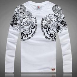 Wholesale Long Sleeve Tattoo T Shirts - 2015 New Men's Printing T-Shirts Men Casual Floral Tee Long Sleeve T Shirt Japan Blossom Ukiyoe Tattoo Art Design BRM Slim Fitted Hip Rock