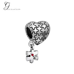 Wholesale Dangle Charm Bead For Necklace - Fits Pandora Bracelets Autism Awareness Heart Charm Dangle Love Red Crystal Charm Puzzle Beads For Diy Jewelry Bone Bracelet & Necklace