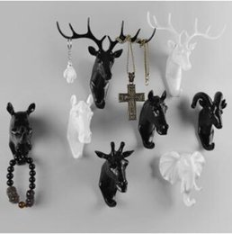 Wholesale Plastic Craft Ornaments - Pure Color Black White Gold Animal Head Hook Resin Craft Key Cap Cothes Claw 3D Animal Mural Decorative Hook Ornament Hanger CCA7935 50pcs