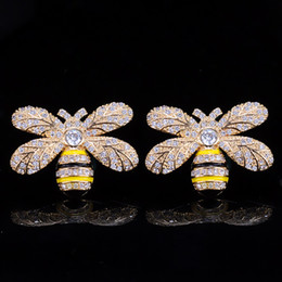 Wholesale Silver 925 Bee - Lovely Women Earrings Yellow Gold Plated Full Sparky CZ Bee Earrings with 925 Silver Needle for Girls Women for Wedding Party Jewelry LY-043
