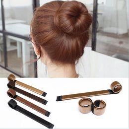 Wholesale Hair Bun Making - French Magic Hair Bun Quick Made Donut Hair Fold Wrap Snap Roller DIY Hair Styling for Women Girl