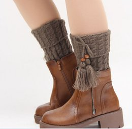 Wholesale Crocheted Boot Cuff - 20pairs lot Christmas Gift Tassels Leg Warmers Boot Knit Crochet Knee Leg Warmers Boot Cuffs Boot Toppers for Women Boot Socks K6097