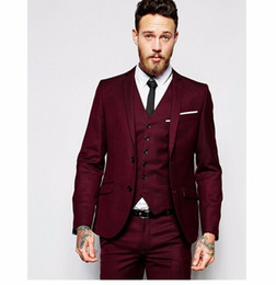 Wholesale Wedding Three Piece Suits Design - 2018 New Design Men Wedding Suits Groom Formal Suit Two Buttons Burgundy Tuxedo Jacket Men Suit 3 Pieces Costume Homme