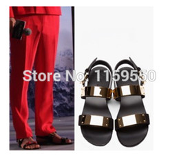 Wholesale Name Brand Sandals - Wholesale-gold Metal flats sandals for women and men cheap sale name brand summer shoes