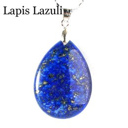 Wholesale Cabochon Lapis - Lapis Lazuli Natural Stone Double Cabochon Water Drop Reiki Pendulum Pendant Charms Amulet Concise Fashion Jewelry 10pcs