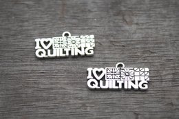 Wholesale Love Tone - 20pcs- I Love Quilting Charms, Antique Tibetan Silver Tone Quilting Charms Pendants 12x25mm