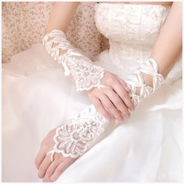 Wholesale White Prom Gloves - Lace Flowers Bridal Gloves Fingerless Satin Lace White   Beige Color Wedding Party Prom Gloves Bridal Accessories