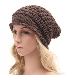 Wholesale Yarn For Sale Wholesale - Hot Sales Women Warm Cute Hat Soft And Pure Color Baggy Shape Chunky Cotton Knitted Free Shipping 4 Color For You