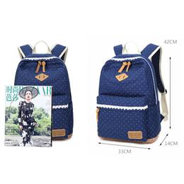 Wholesale kawaii mini dress - Women Dot Canvas Backpack Schoolbag Girl Teens School Bag Female Kawaii Bagback Feminine Youth Backbag sac a dos femme batoh