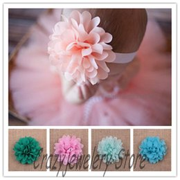 Wholesale Photography Novelties - 30pcs 4'' Novelty Chiffon Flowers Fabric Chiffon Flower Children Hair Accessories DIY Baby Christmas Headwear Fashion Girl Photography Props