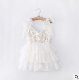 Wholesale Gauze Dresses For Kids - 2015 New Floral Ruffle princess dresses for girls Tulle Bow kids dresses Gauze Tiered Childrens Tutu Dress baby girls dresses Summer 5553