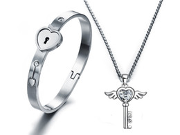 Wholesale Valentine Gifts For Couples - A Couple Lover Jewelry set Silver stainless steel lover heart lock Bracelet key Necklace lock lover Jewelry Set For Valentines