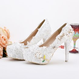 Wholesale Lace Up Material Heels - 12cm New Wedding Shoes Pageant Wedding Party Dress Shoes Custom Made Graceful Lace Flower Bridal Shoes Pumps Satin Material
