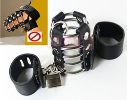 Wholesale Male Cock Ball Restraints - CBT Sex Toys for Men Cock Ball Torture BDSM Bondage Gear Penis Ring Cage Restraints Male Chasity Devices XLY68041